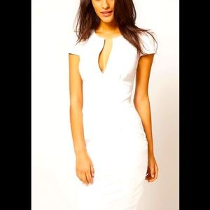 ASOS White Linen Pencil Dress with Pockets